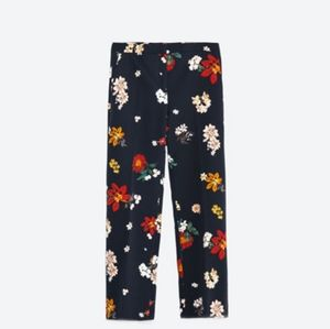 XS Zara Basic Navy Floral Trousers